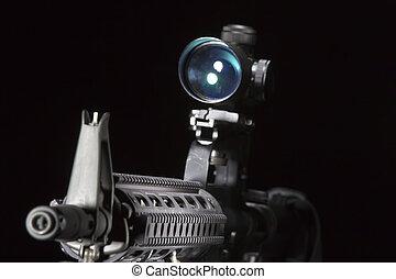 AR-15 Gun - An American AR-15 assault rifle in a studio...