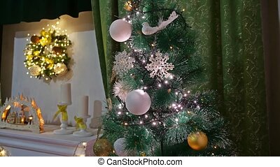 Christmas room gifts interior tree New Year and toys...