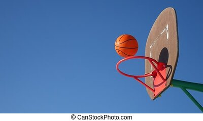 old sport basketball hoop, street basketball throw the ball in the basket