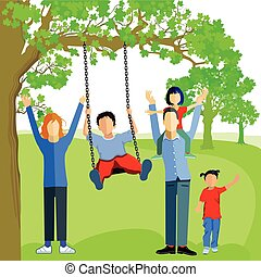 Familie mit Schaukel.eps - Little boy Swing on tree in park