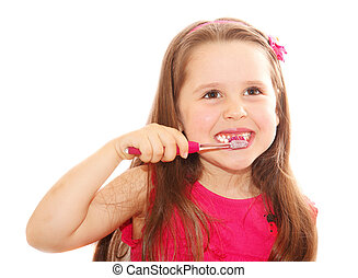 Little girl cleaning teeth isolated on white