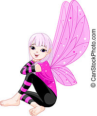 Little cute emo fairy - Illustration of cute little fairy...