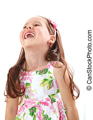 Happy little girl laughing isolated on white background