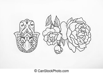 Sketch of the hamsa and peony on white background. - Sketch...