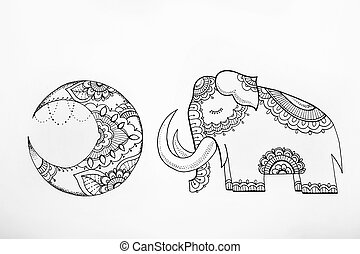 Sketch of the moon and sleeping elephant a white background.