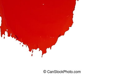 red paint flowing down in slow motion. Clear liquid -...