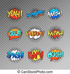 collection of nine multicolored comic sound effects in pop...