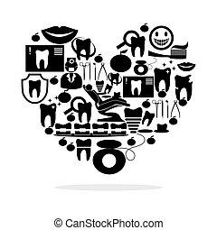 stomatology and heart black - illustration on the theme of...