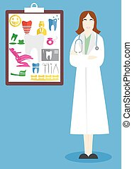 the doctor woman - illustration on the theme of medicine and...