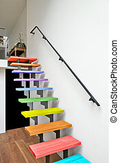 Multi colored Hardwood stairs modern living room - Multi...