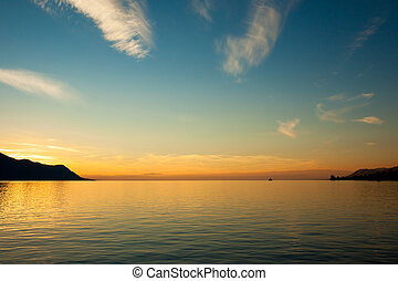 Beautiful sunset on Leman Lake in Montreux  Switerland