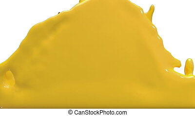 3d render liquid yellow car paint filling up screen, luma...