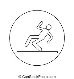 slippery floor sign icon illustration design