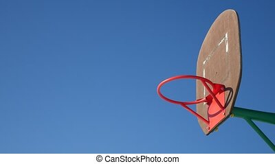 old sport basketball hoop, street basketball throw the ball...