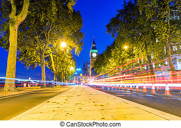 Cityscape of a Street in Westminster at night - Cityscape of...