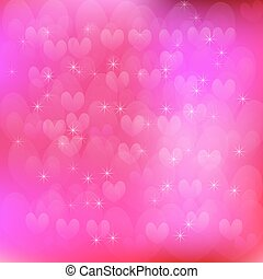 Hearts and pink background vector