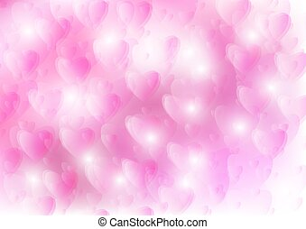 Bokeh Hearts and pink background