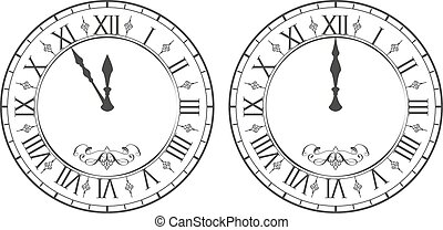 Clock with Roman numerals. New Year midnight