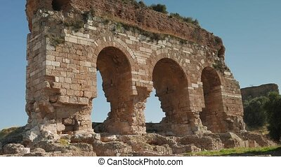 Zooming of three ancient archs, Tralleis ruins, Aydin,...