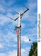 Electricity Pole With Red Cables - Electricity Pole With...