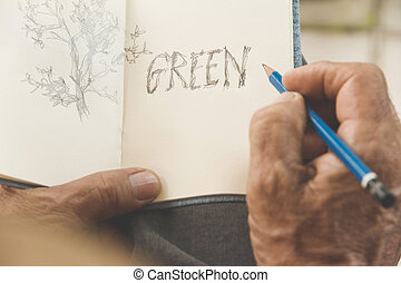 Environment Conservative concept - man writing a tree on...