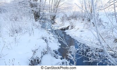 winter creek in the forest snow, frozen branches of trees...
