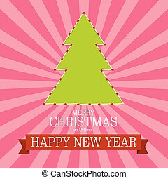 Merry Christmas and Happy New Year. Paper Green Tree on Retro Pink Background.