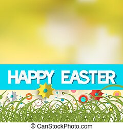 Easter Blurred Bokeh Background with Grass, Colorful Paper...