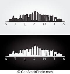 Atlanta skyline silhouette - Atlanta USA skyline and...