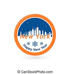 New York skyline silhouette in snow globe. - New York,...