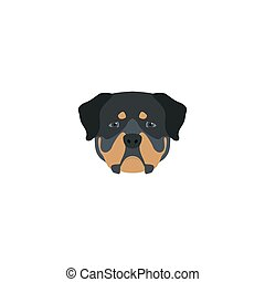 Head rottweiler dog. Vector illustration.