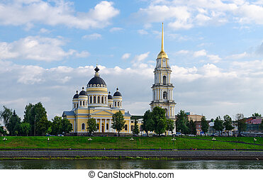 Saviour Transfiguration Cathedral and belfry, Rybinsk,...
