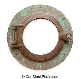 Aged Antique Ship Porthole Isolated with Clipping Path -...