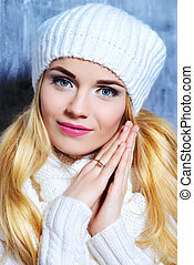 outerwear collection - Winter beauty, cosmetics. Beautiful...