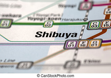 Shibuya metro stations map with selective focus