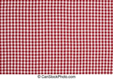 vermelho, branca, gingham, checkered, toalha de mesa, fundo