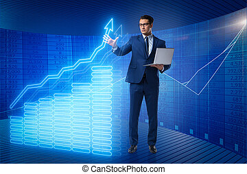 Businessman in stock exchange trading concept