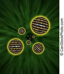 Binary data orbs floating through a vortex