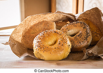 bagels - Assortment of authentic New York style bagels with...