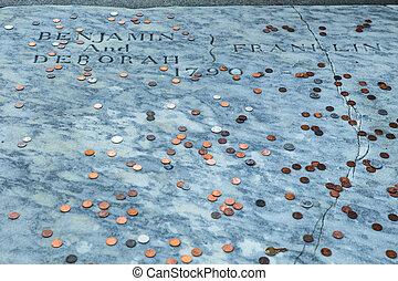 Ben Franklin Grave - Benjamin Franklin grave covered with...