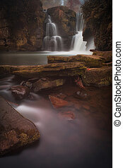 Penllergare falls Swansea UK - A misty morning at the...