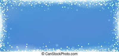 Christmas blue blog banner background with bokeh border -...