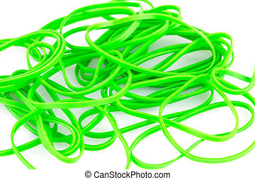 Green rubber bands closeup picture.