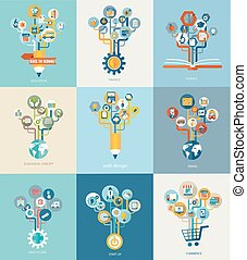 Abstract trees with icons for web design. - Abstract trees...