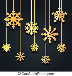 Different golden vector snowflakes illustration. Vector ice...
