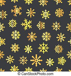 Different golden vector snowflakes seamless pattern. Vector...