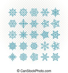 Different vector snowflakes collection isolated on...