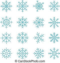 Different vector snowflakes collection. Vector ice crystal...