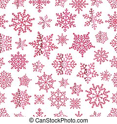 Different pink vector snowflakes seamless patter. ice...