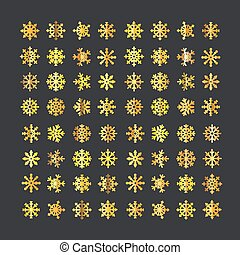 Different vector golden snowflakes collection isolated on...